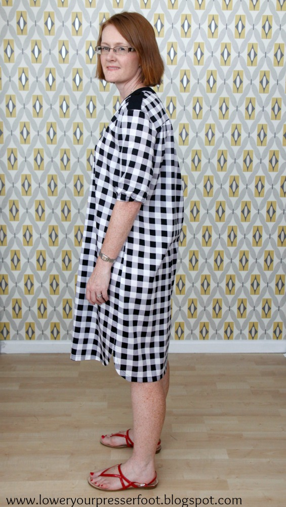 Burda 12/2015 #121 gingham shirt dress www.loweryourpresserfoot.blogspot.com