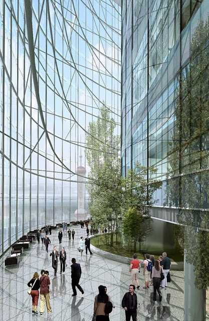Rendering of sky garden interior in Shanghai Tower