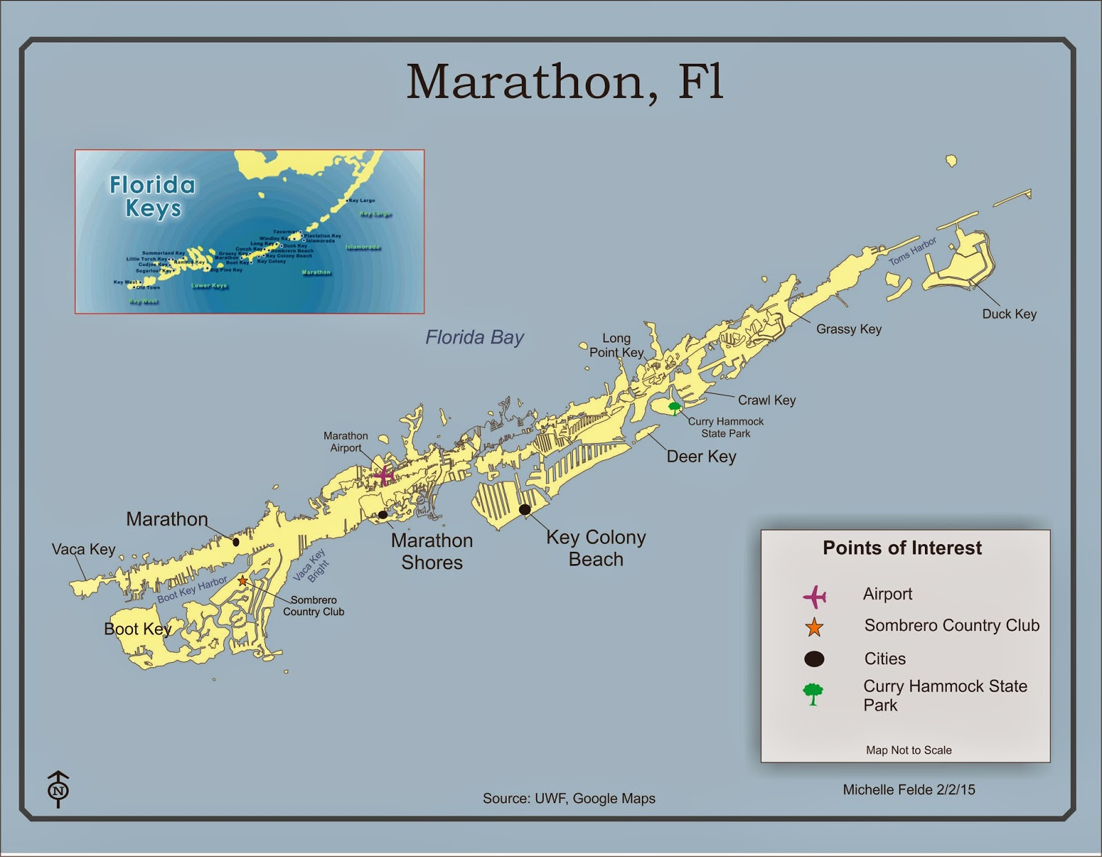this map is of the marathon florida of the florida keys the major cities were labeled along with a state park and airport another key element to label