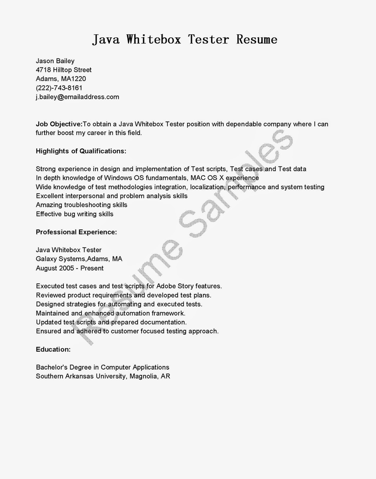 resume samples java whitebox tester resume sample