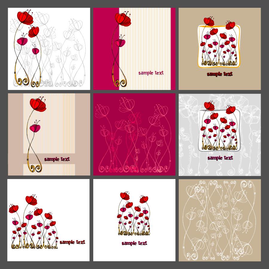 赤い花ビラのカード背景 flower pattern vector illustrator イラスト素材