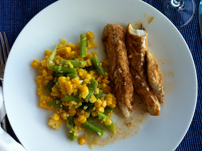 SouthernSpoon blog: corn and asparagus salad, grilled fish, mango margaritas
