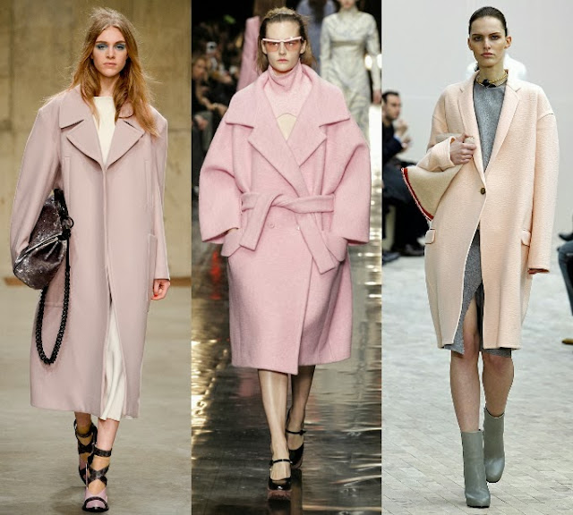 Overcoats in different shades of pink
