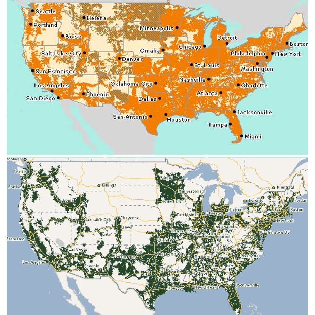 Consumer Cellular Now Offers Service On Both ATT And TMobile - Us cellular coverage map vs verizon