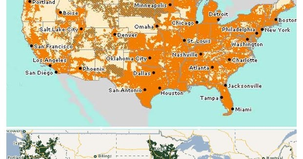 Consumer Cellular Now Offers Service On Both ATT And TMobile - Wind coverage map of us