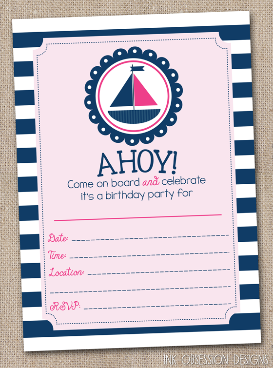 Ink Obsession Designs Instant Download Nautical Birthday Party