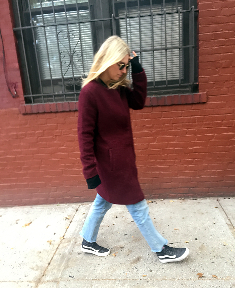 BB Dakota Regan coat, Vans leather high top sneakers, Madewell jeans, Ray-Ban Lennon sunglasses