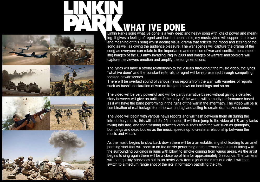 Linkin park what i 39 ve done music video treatment unit 2 for Video treatment template
