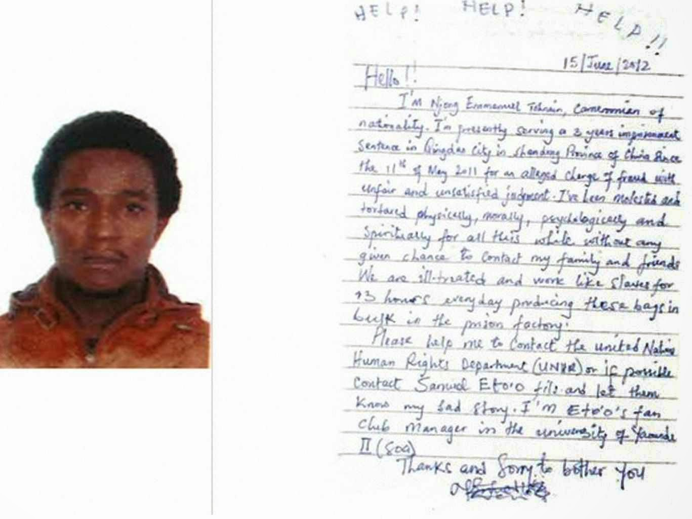 A carta com o apelo do trabalhador escravo