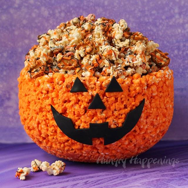 100% Edible Pumpkin Popcorn Bowl filled with Halloween Popcorn | HungryHappenings.com