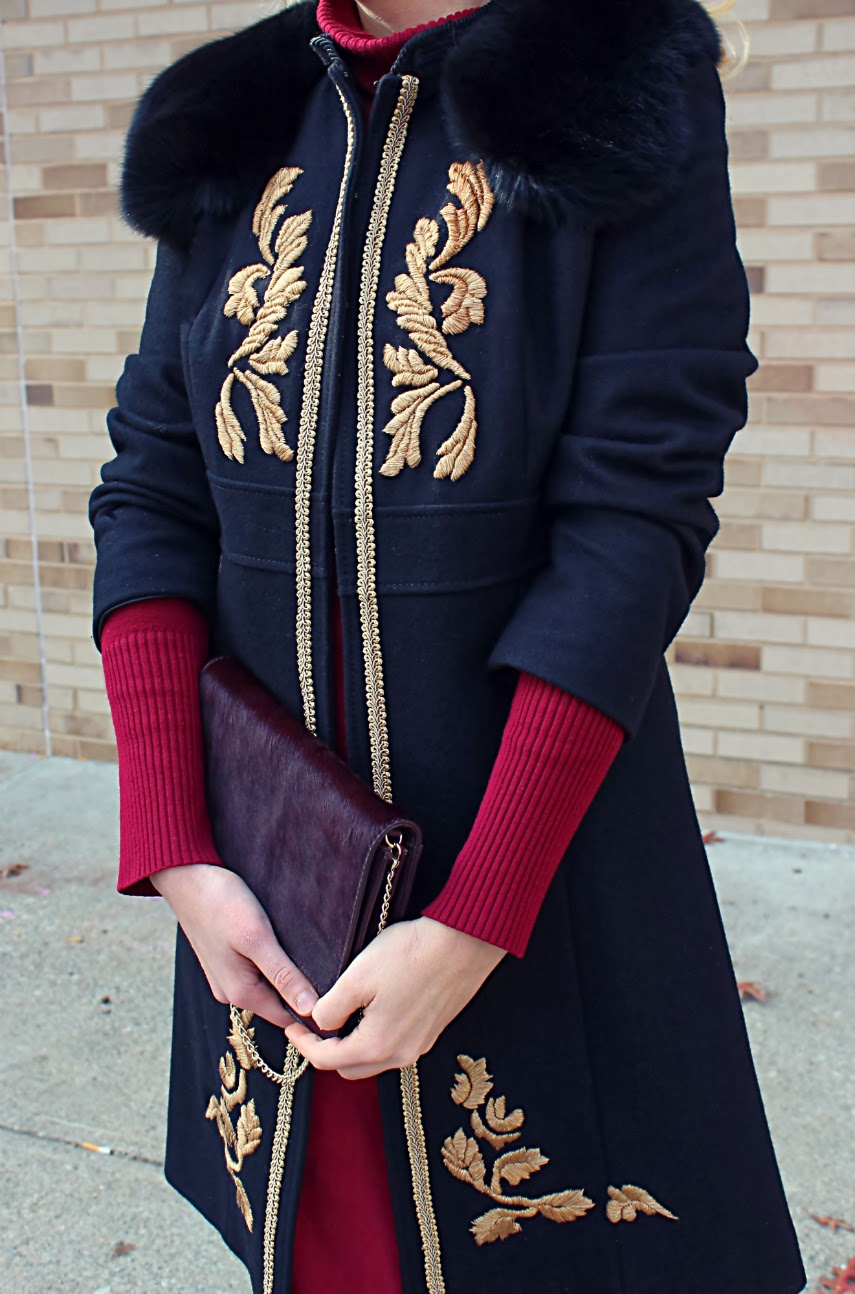 DIY embellished coat