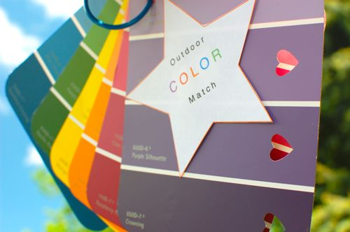 Outdoor color matching activity with paint sample cards