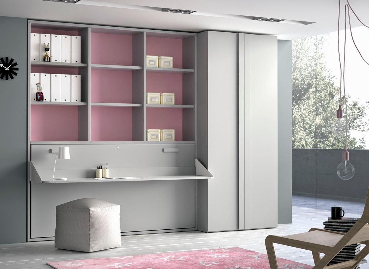 Camas abatibles horizontales for Camas juveniles con escritorio incorporado