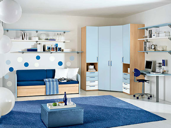 Dormitorio azul para jovencito adolescente dormitorios for Dormitorios juveniles modernos de diseno
