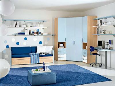 habitación adolescente azul