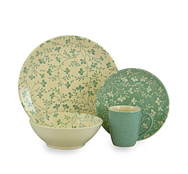 Floral patterns play on solid-color backgrounds on this Sango u201cFresh Flowersu201d Aqua 16-Piece Dinnerware Set mixing shades of aqua and cream.  sc 1 st  Everything Turquoise & Sango u201cFresh Flowersu201d Aqua 16-Piece Dinnerware Set | Everything ...
