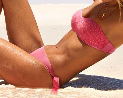 Pink bikini flitteres, pánt nélküli bikini felsővel - Calzedonia 2013 pink