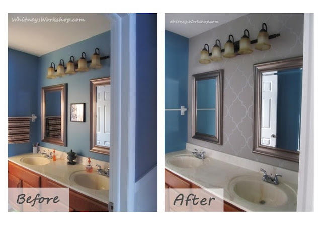 whitneysworkshop.com Bathroom Wallpaper Before and After