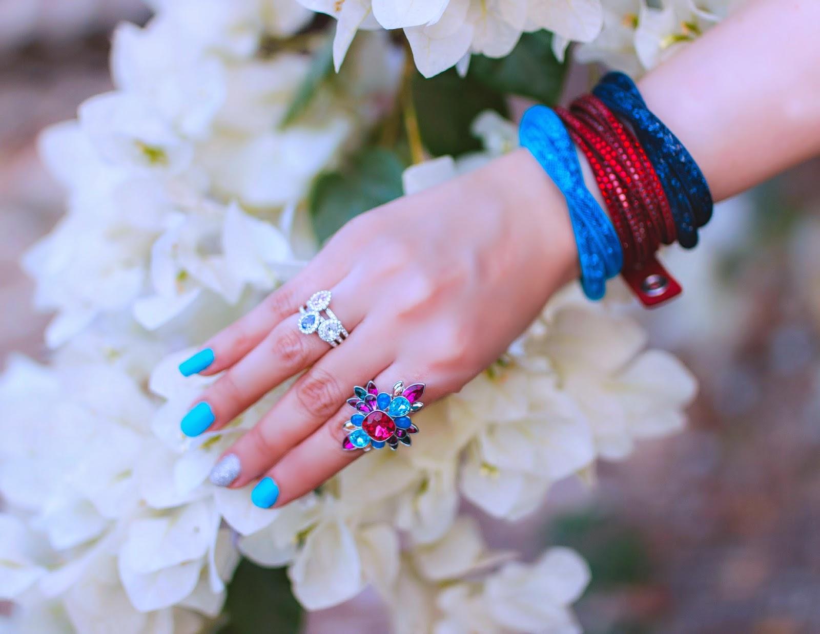 Swarovski Stardust Bracelets, Slake Bracelet, Cardinal Floral Ring, Pastel Christie Ring Set