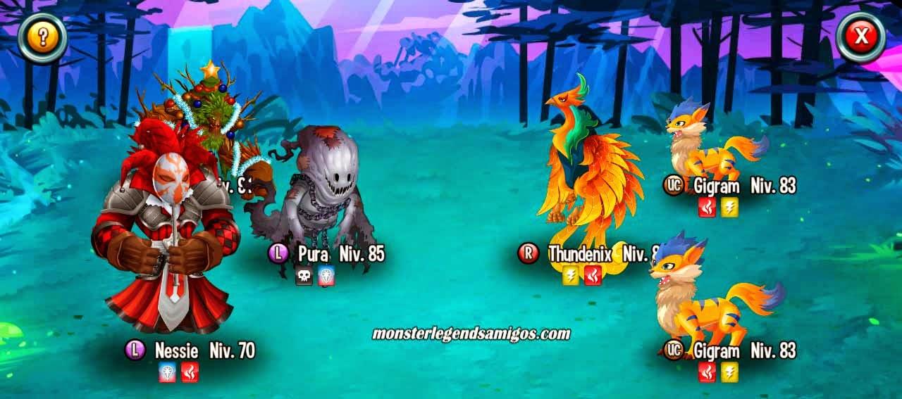 imagen de la batalla de la mazmorra natura electrificada de monster legends