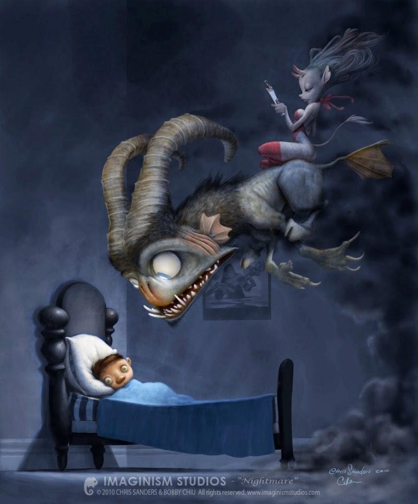 illustration de Bobby Chiu représentant un monstre s'approchant d'un lit d'enfant