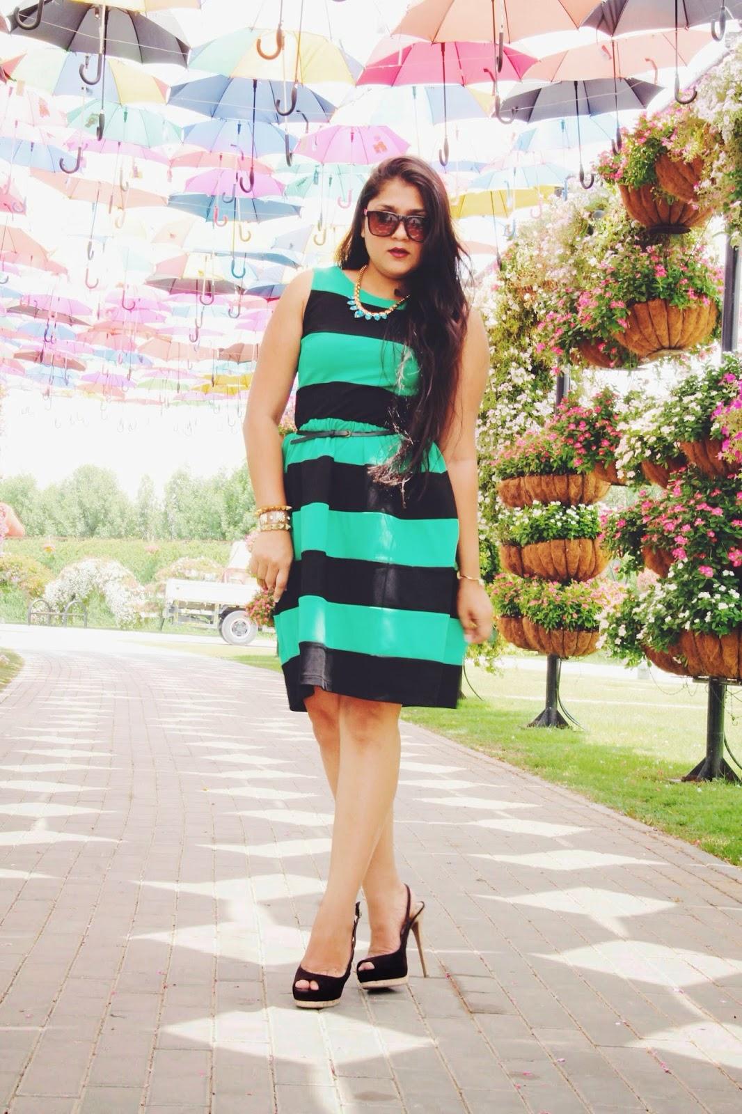 Striped dress Miracle Garden Myntra