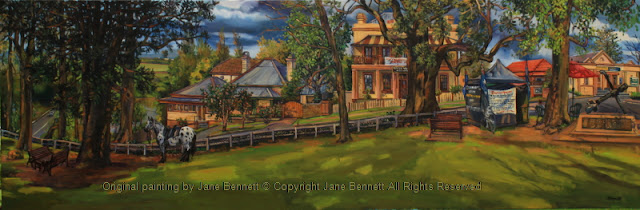plein air oil painting of a panorama of Thompson's Square, Windsor, with a 'wool-bombing protest' painted by artist Jane Bennett