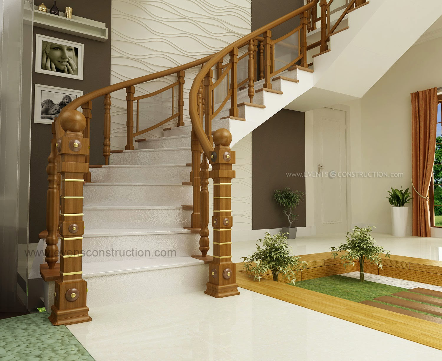 Wooden handrail design living room interiors pdf - Bed room house plan with stairs ...
