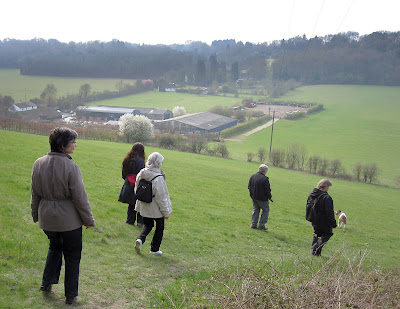The group walking down into Cudham Valley past Bottom Barn Farm