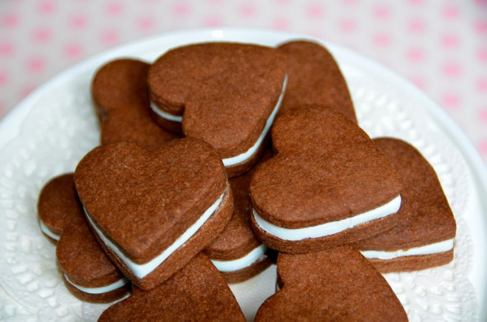 chocolate heart cookies for valentines day