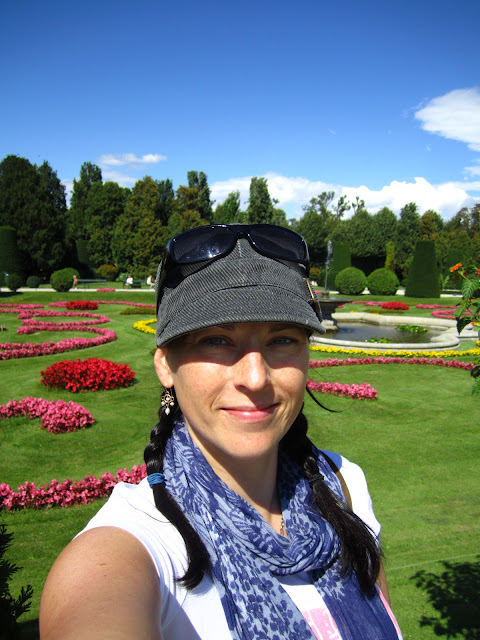 A photo of a woman near the zoo in Vienna, Austria.
