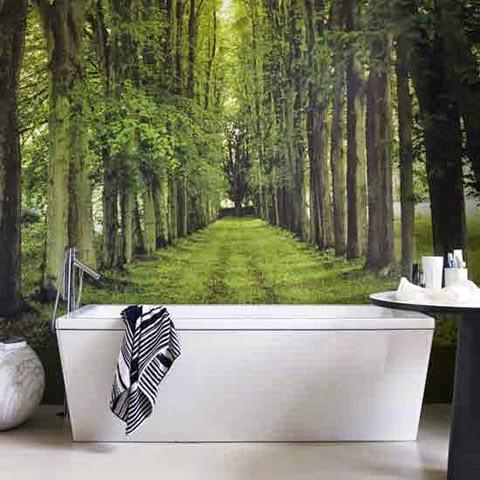 natural relaxing bathroom trees mural