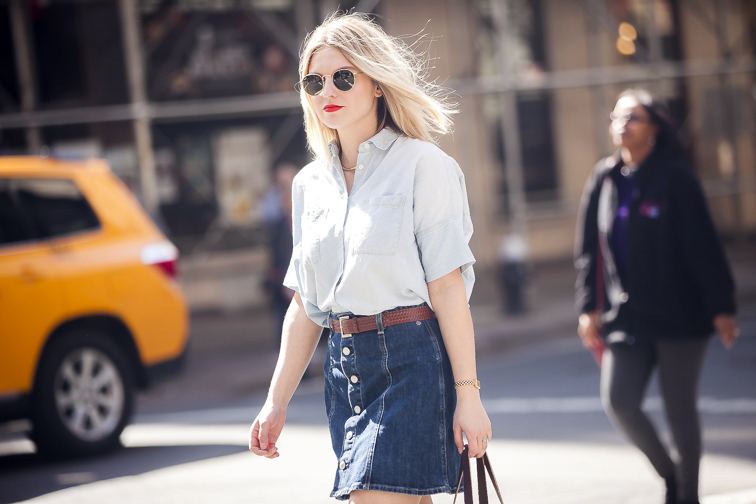 Madewell Monogram Chambray, AC for AG denim skirt, Ray-Ban Lennon sunglasses