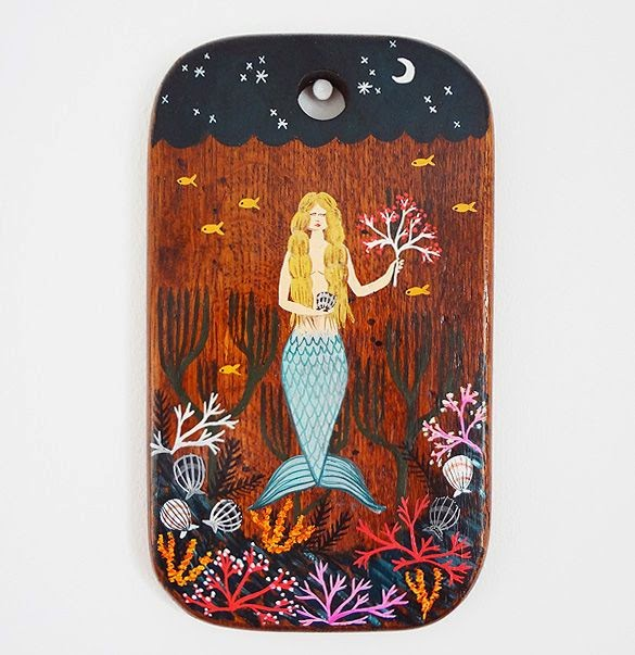 Mermaid Original Painting - Bonbi Forest - 25% Off Easter Sale