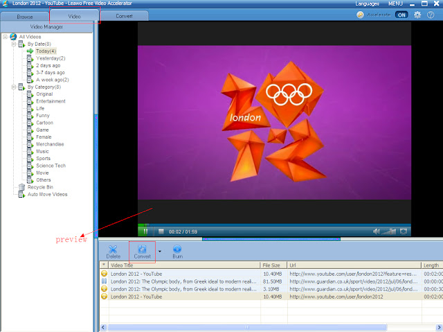 leawo free youtube downloader-video