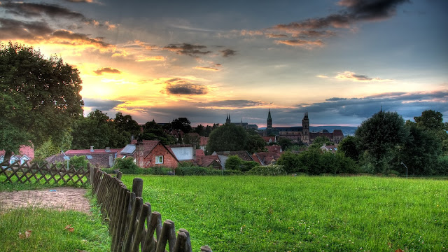 Bamberg beautiful scenery sunset houses grass clouds 1080 Bamberg Scenery