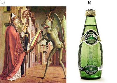 Comparación del color verde entre San Agustín y el diable, Agua mineral Perrie
