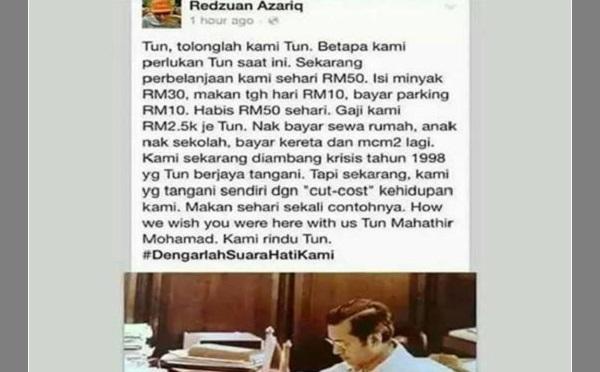 Luahan hati seorang pengguna terhadap Tun Mahathir kerana kos sara hidup yang tinggi