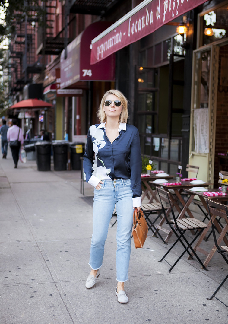 Fashion Over Reason Frame Denim, JCrew loafers, Altuzarra x Target blouse, Coach bag, Ray-Ban aviators, Brooklyn streets
