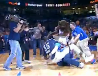 Kevin Durant bear hugs fan who hits half-court shot for 20K