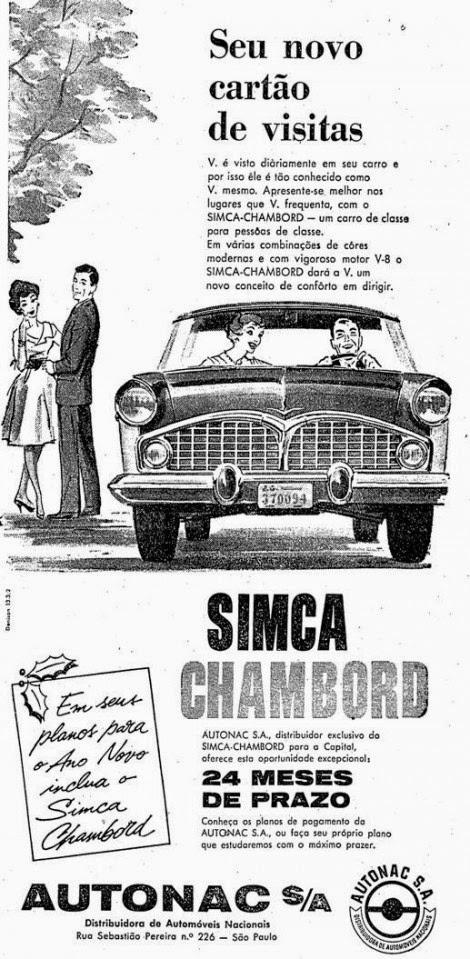 Propaganda do Simca Chambord veiculado nos anos 50.