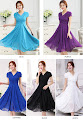 Best Buy 5-Color Short Sleeve Layer Chiffon Flare Dress