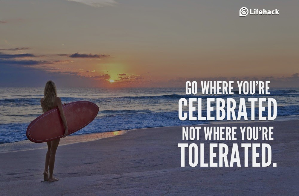 "10 Sentences that Can Change Your Life - ""Go where you're celebrated, not where you're tolerated."""