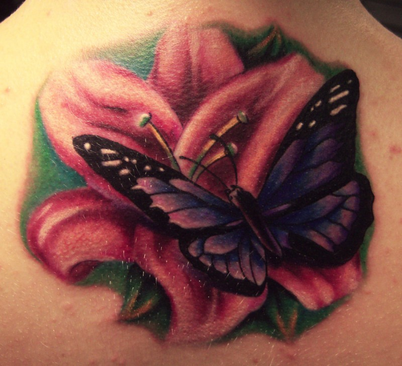 Flower and butterfly tattoo by hatefulss