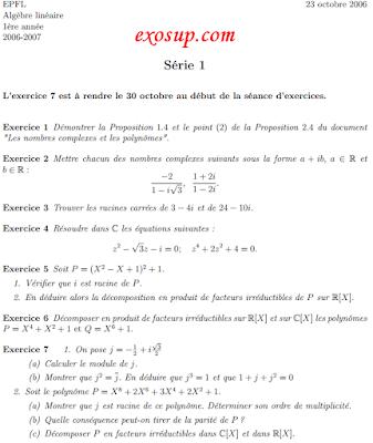 series + corrigés Algèbre linéaire