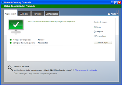 Janela do antivírus feita pela Microsoft