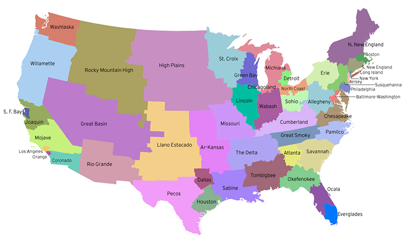 Map Of America If Every State Had The Same Number Of People - Us map divided into regions