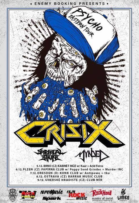 6. 12. 2017 -  Crisix/Surgical Strike/Mynded/Murder Inc./Poppy Seed Grinder -  Café Papírna, Plzeň