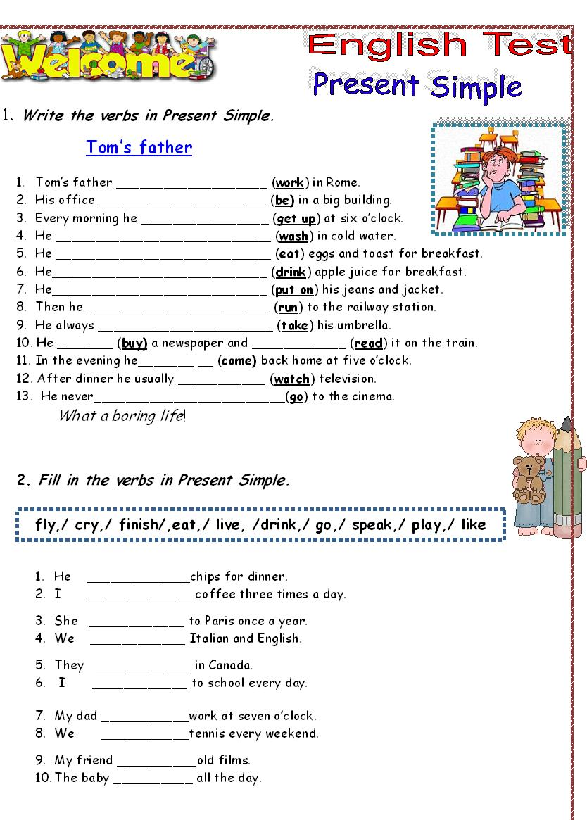 Present Simple Tense Test http://teacher-daniele.blogspot.com/2012/08/7-anos-simple-present-test.html