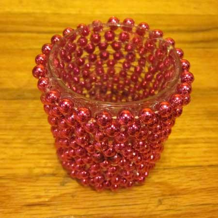 Porta candelina ricoperto di perline